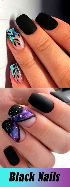 The Most Beautiful Black Winter Nails Ideas Simple Black Nails ART 5 practical ways to apply nail polish without errors Marble Nail Designs, Black Nail Designs, Winter Nail Designs, Nail Art Designs, Nail Ideas For Winter, Nails Design, Gel Nails, Nail Polish, Pointy Nails