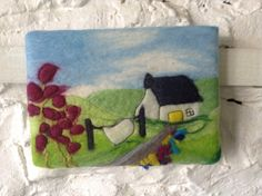 Textile art felt picture felt painting small by SueForeyfibreart