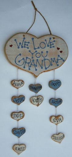 Items similar to Personalized Grandma Family Tree Wooden Wall Hanging on Etsy Cute Crafts, Crafts To Make, Crafts For Kids, Arts And Crafts, Craft Gifts, Diy Gifts, Diy Projects To Try, Craft Projects, Family Tree Wall
