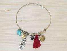 Bangle bracelet with charms, Colorful bracelet, Hipster Bangle, Charm Bangle, Charm Bracelet, Adjustable bangle, Boho Bangle by artdcbydc on Etsy