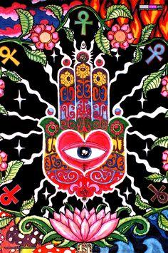 Hamsa UV Poster Psy Trance Schwarzlicht Glow-in-the-Dark Goa Hippie Esoterik Neu Psychedelic Art, Tachisme, Art And Illustration, Uv Black Light, Black Lights, Black Dark, Art Web, Psy Art, Kunst Poster