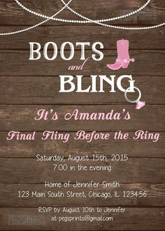 Boots and Bling Invitation Country Bachelorette by PegsPrints