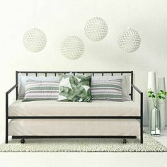 Ebern Designs Wampum Twin Metal Daybed with Trundle Metal Daybed With Trundle, Twin Trundle Bed, Twin Beds, Bunk Beds, Night And Day Furniture, Bed Legs, Bed Dimensions, Space Saving Furniture, How To Make Bed
