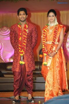 LoveVivah - Couple of the day! Life has changed a lot after marriage. I am not the same person as before which is for good, says Allu Arjun Does marriage change a person? Indian Bridal Fashion, Indian Bridal Wear, Wedding Saree Blouse Designs, Saree Wedding, Hair Designs For Boys, Allu Arjun Hairstyle, Marriage Stills, Marriage Images, Indian Marriage