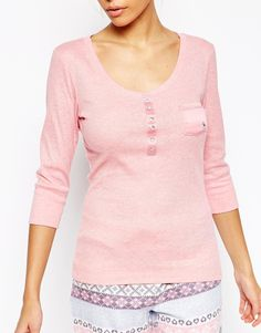 Image 3 of Floozie Ribbed Long Sleeve Henley Top