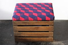 Upcycled Apple Crate Ottoman Fool stool/ storage box with hand screen printed royal blue linen fabric with pillar box red Cube print