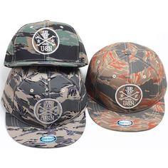H51 New Skull Camo Pattern Military Short Brim Cap HipHop Bill Snapback Flat Hat