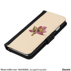 Phone wallet case - Red Hellebore for Samsung Galaxy or iphone