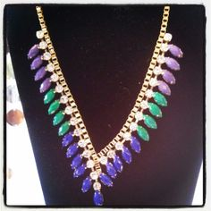 V-Shaped Rhinestones with Blue Green and Purple Stones on Gold $25