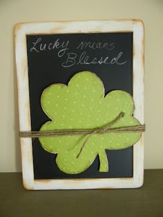 Cardboard Shamrock tied to a frame - cute and easy!!!