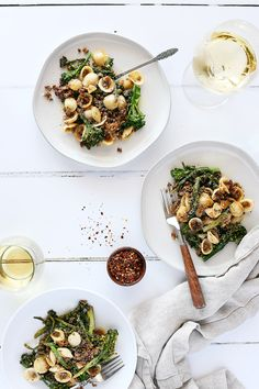Italian Sausage Crumbles by Pasta-based. A plate of orecchiette pasta mixed with broccolini, vegan sausage crumbles, and fresh browned garlic. Vegan Meat Substitutes, Italian Recipes, Vegan Recipes, Risotto, Breakfast Recipes, Sausage, Food Photography, Pasta, Cooking