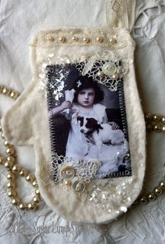 HANDMADE Mitten Ornament. what a treasure when it's a pic of grandma or? and it's embelished with bits and pieces of her jewelry that may not be in perfect shape
