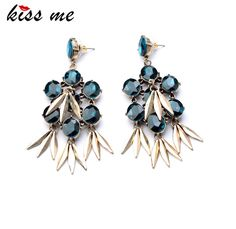 KISS ME 2017 Statement Trendy Jewelry Antique Glass Stone Rivet Drop Earrings For Girls #Affiliate