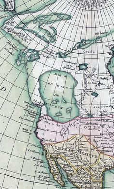 French mapmaker Jean Janvier's 1762 interpretation of accounts by Juan de Fuca, Martin de Aguilar and Bartholomew de Fonte. Like others of the time, this one features Mer ou Baye de l'Ouest (Sea or Bay of the West) covering what should be Washington and more. Juan de Fuca reported sailing a sea for 20 days, which could have been the Strait of Georgia or Puget Sound.