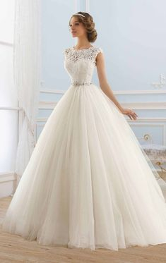 Lace and tulle wedding dress with crystal belt