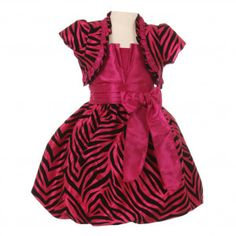 Big Girls Fuchsia Zebra Stripe Ribbon Tie Bolero Taffeta Christmas Dress 8-12