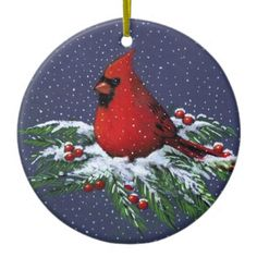 CHRISTMAS CARDINAL: BIRD: SNOW: ART CHRISTMAS TREE ORNAMENT Artwork designed by joyart. Made by Zazzle Home in San Jose, CA. #madeinusa