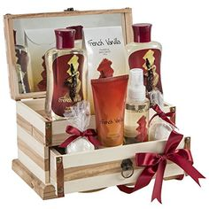 Wood Jewelry Box: A jewelry box for gift recipients of all ages! The Jewelry Box French Vanilla Fragrance Spa Set comes in a natural wood and leather-look, jewelry box.