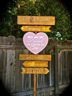Wedding Directional Signs, Rustic Wedding  Decor, Barn Wedding, Wedding Decor, Wedding Signs, Custom Colors Available by OneCoopedChick on Etsy https://www.etsy.com/listing/195973705/wedding-directional-signs-rustic-wedding