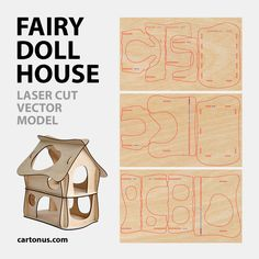 Wooden fairy doll house Vector plan/model for laser cutter, cnc, lasercut, laser machine. Dimension: 270x190x300 mm. Material thickness: 3,2 mm. (This model may be proportionally transform for different thickness material) 3 pieces of plywood 500×300 mm. Ideal model doll house for small laser machine (500×300 mm) Read more >> http://cartonus.com/fairy-doll-house/
