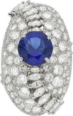 Synthetic Sapphire, Diamond, Platinum Ring