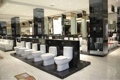 sanitary ware showroom - Αναζήτηση Google Thrift Store Furniture, Recycled Furniture, Refurbished Furniture, Showroom Interior Design, Contemporary Interior Design, Showroom Ideas, Interior Shop, Bathroom Store, Bathrooms