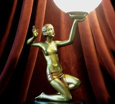 art deco spelter women | Rare Art Deco Gilt-Spelter 'Draped Nude' Globe Lamp, by Josef Lorenzl ...
