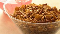 Enjoy this cereal and garlic snack mix that's baked using Cheerios® and Corn Chex® Cereal - ready in just 45 minutes!