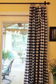buffalo check curtains that are really tablecloths - Budget Decorating Idea!