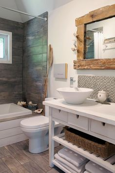 1000 images about salle de bain on pinterest tubs tub for Miroir en bois brut