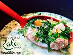 Sausage and Kale Soup Recipe. This sausage and kale soup has a light broth with a touch of cream. A tasty way to enjoy a superfood in a soup.