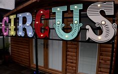 Giant Circus Sign Prop available to hire. fairground and Circus Themed Events