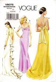 Sz - Vogue Dress Pattern - Misses' Backless, Sleeveless Evening Dress in Three Variations with Optional Train - Vogue Pattern Evening Dress Patterns, Wedding Dress Patterns, Evening Dresses, Vintage Style Dresses, Vintage Outfits, Vintage Fashion, Vogue Patterns, Vintage Sewing Patterns, Clothing Patterns