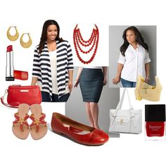 Red, Gold, Stripes, and Demin, created on Polyvore. Clothing from Torrid and Lane Bryant. Navy stripes, red, gold, white, and denim.  Summer and Spring.  Daytime and Evening.  Accessories under 50 dollars.
