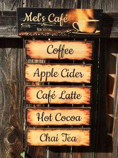 Now Serving Sign, Wooden Cafe Sign, Custom Kitchen Decor, Rustic Cafe… Cafe Bar, Cafe Sign, Cafe Menu, Pub Decor, Kitchen Decor, Restaurant Interior Design, Modern Restaurant, Restaurant Service, Restaurant Furniture