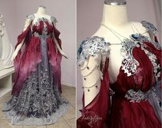 Red and silver princess dress Elven Cosplay, Cosplay Armor, Cosplay Dress, Costume Dress, Larp, Purple To Blue Ombre, Red And Blue Dress, Fairytale Dress, Fairy Dress