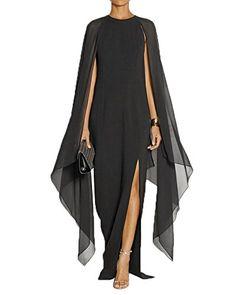 Maketina Women's Flare Chiffon Sleeve High Split Formal Evening Gown Maxi Dress with Cape Black XXL Cape Dress, Dress Up, Gown Dress, Mode Chanel, Women's Flares, Evening Dresses, Formal Dresses, Blue Fashion, Fashion 2018