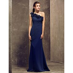 Sheath/Column One Shoulder Floor-length Chiffon Bridesmaid Dress (722125) – AUD $ 108.80