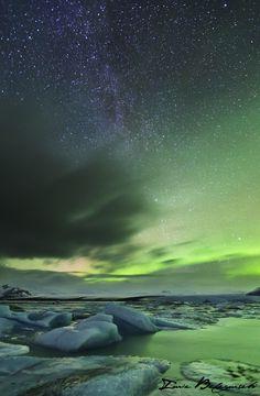 Milky Way and Auroa over Glacier Lagoon - Jökulsárlón.  by Lurie Belegurschi.
