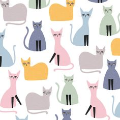 Cat pattern - for the cats lover out there! Surface pattern design and children illustration by Laurence Lavallée aka Flo Cat Pattern, Pattern Art, Pattern Illustration, Surface Pattern Design, Pattern Wallpaper, Cat Art, Cat Lovers, My Arts, Marshmallow