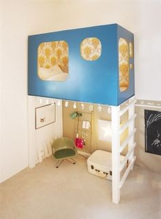 what a fun loft bed!  it's like a little apartment