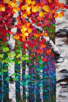 """Kaleidoscope Trees"" Melissa Mckinnon Contemporary Abstract Landscape Artist features big colourful paintings of Aspen & Birch Trees, rocky Mountains and stunning views of the Canadian prairies, big skies and ocean beaches. Abstract Landscape Painting, Art Painting, Landscape Artist, Painting, Birch Tree Painting, Art, Canvas Art, Abstract, Canvas Painting"