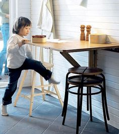 Space saving wall mounted drop leaf table from Ikea, for the kids to do their work! Ikea Folding Table, Folding Walls, Wall Mounted Table Kitchen, Kitchen Tables, Pub Table And Stools, Dining Table Height, Fold Down Table, Breakfast Bar Kitchen, Breakfast Bars