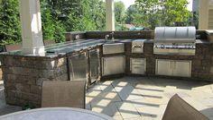 pergola, built in kitchen, outdoor sink, countertops, patio seating, Outdoor Kitchen/Bar