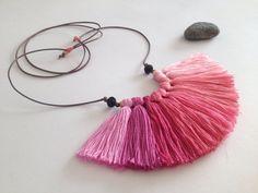 Japan pink  Fiber necklace Ombre tassel necklace by NinaPaco, €25.00