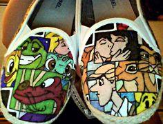 Disney collage espadrille shoes.