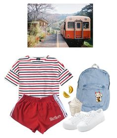 """train"" by paper-freckles ❤ liked on Polyvore featuring American Apparel, Saint James and DKNY"