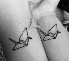 Mother daughter Origami Crane tattoo