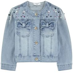 Cotton denim Pleasant to the touch Fitted cut Crew neck Gathered armholes Long sleeves Patch pockets Snap buttons on the front Snap buttons on the cuffs Fancy bows Stone-washed effect Fancy cabochons Fancy rhinestones - Kids Outfits Girls, Girl Outfits, Denim Jacket Fashion, Baby Jeans, Mode Jeans, Faux Leather Jackets, Denim Jackets, Girl Sleeves, Kids Fashion