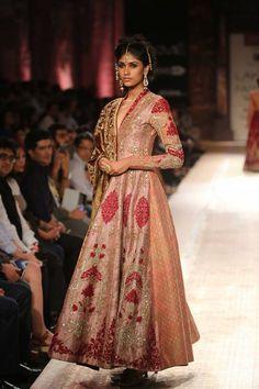 Pretty blush pink Indian bridal anarkali by Anju Modi at Lakme Fashion Week Winter 2014. More here: http://www.indianweddingsite.com/lakme-fashion-week-winter-2014-anju-modi-collection/
